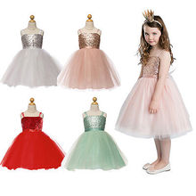2016 New Baby Girls Dress Flower Kids Baby Princess Sequin Gown Fancy Party Dress Costume