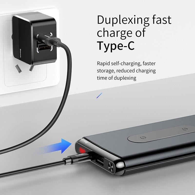 Baseus 10000 mah charge rapide 3.0 batterie externe Qi Sans Fil Chargeur Poverbank Pour iPhone Xiao mi mi USB C PD Rapide De Charge Powerbank - 3