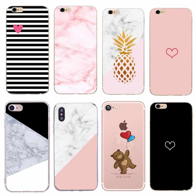 Para iphone Funda 5 S Funda de mármol Funda del teléfono de silicona suave para iphone X XS 7 8 Plus 6S 6 5 SE Funda para iphone 8plus