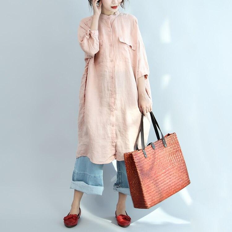 Blusen & Hemden Angemessen 2018 Herbst Einfarbig Shirts Frauen Casual O-ansatz Lange Ärmel Bluse Und Tops Mit Taschen Top Blusas Mujer De Moda