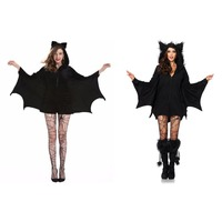 2017 Batwoman Women Bat Costume Animal Cosplay Faux Fur Ear Cloak Romper With Zipper Halloween Vampire