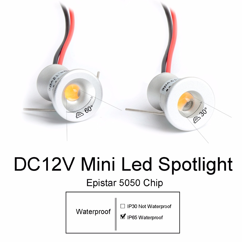 12V Led Spotlight Cabinet Mini Spot Light IP65 Waterproof Recessed Down Light Cupboard Showcase Display Light 1W Aluminum Body Q(China)