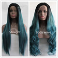 Kylie Jenner ombre body wave hair wigs glueless lace front wig two tone color black/green synthetic lace front wig in stock