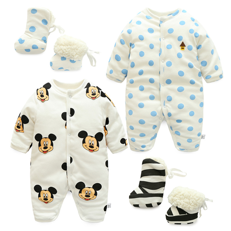 0-12M Newborn Baby Winter Romper+Boot For Boys/Girls Infant Thicken Warm Snow Suit Clothes Cotton Bebes Fleece Jumpsuit Clothing