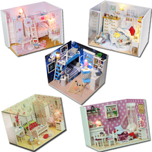 Creative DIY Dollhouse 3D Wooden Doll House Toys Model Miniatura With Furnitures Children's Gift Q Series #E