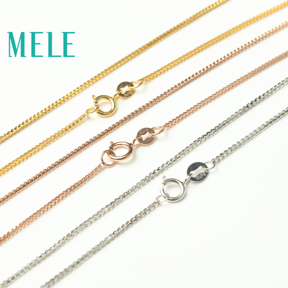 MELE real 18K gold box chain for jewelry pendant,yellow gold rose gold and platinum vegetarian necklace for accessories 18K DIY yoursfs® 18k rose gold plated colorful raindrop crystal necklace and earring jewelry используйте синие австрийские хрустальные свадебные наборы
