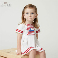 DB4895 dave bella summer baby girls white dress sailboat printed dress baby sweet dress kids toddle kids preppy style costumes