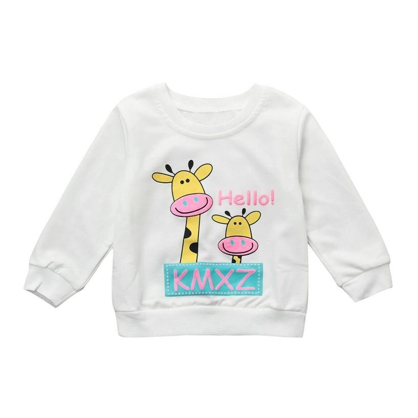 2018 Newborn Infant Baby Boy Girl Giraffe Letter Tops Sweatshirt Outfits Clothes Set NO24 Drop shipping