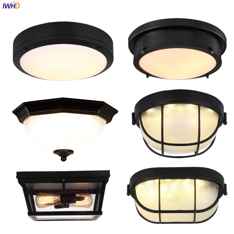 IWHD American Retro LED Ceiling Light Fixtures Kitchen Balcony Porch Industrial Decor Ceiling Lamps Lamparas De Pared Vintage iwhd round retro vintage led ceiling lamp kitchen balcony porch corridor loft industrial ceiling lights plafondlamp de techo