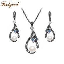 Feelgood Vintage Jewelry Antique Silver Color Imitation Pearl Necklace Exquisite Enamel Small Flower Jewelry Sets For Women(China)