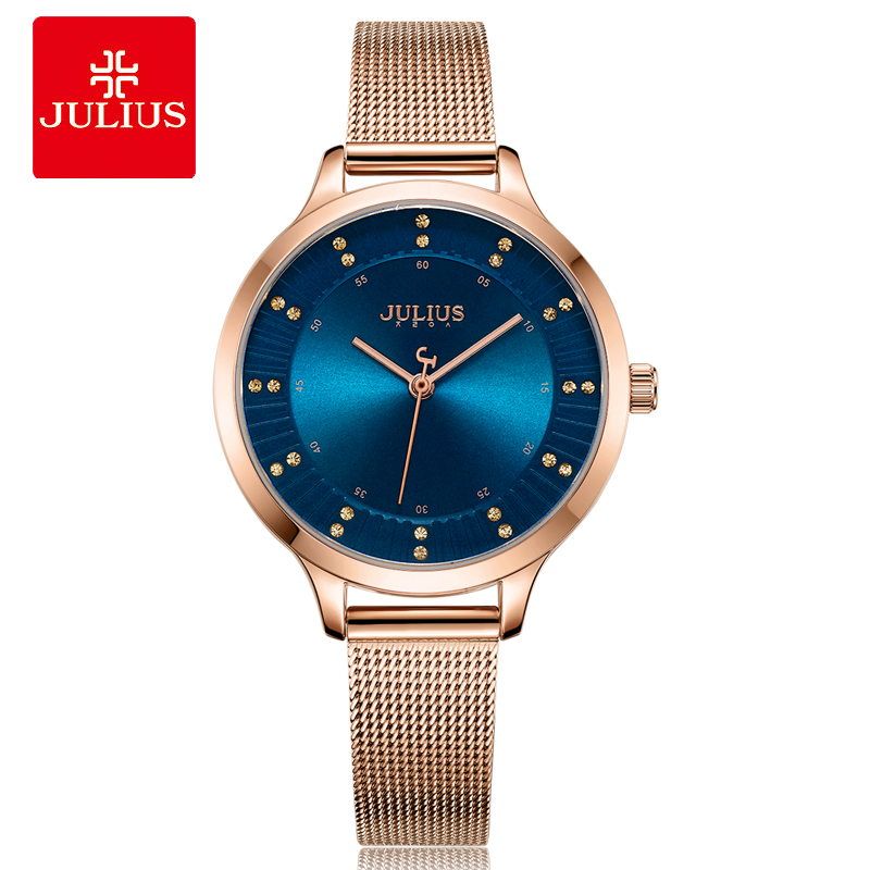 2018 Julius Watch Women Rose Gold Stainless Steel Mesh Band Japan Quartz Movement Waterproof Ladies Watch Dropshipping JA-1058 julius women s watch for small wrist ladies top quality luxury blue wristwatches japan movement waterproof leather clock ja 1077