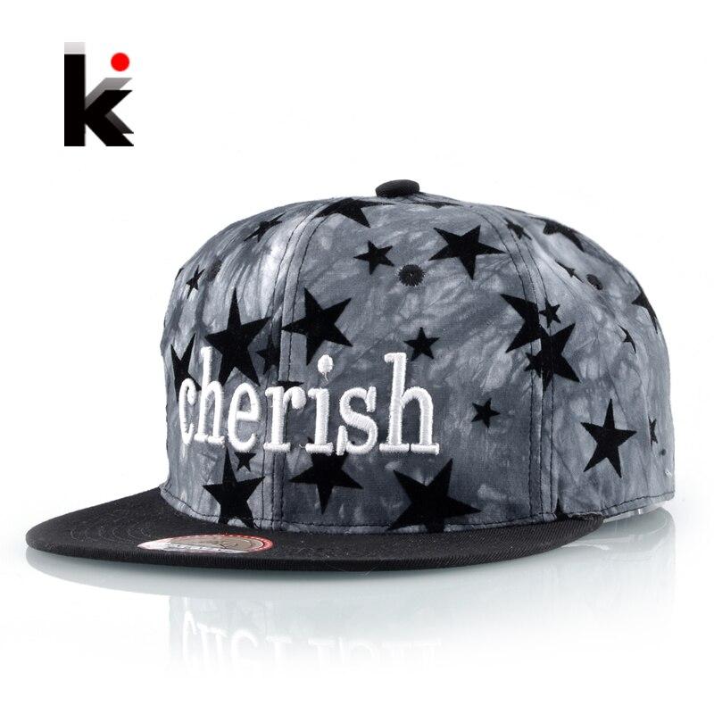 Nové ploché klobouky Kpop pro muže Cherishi Letter výšivky Baseballová čepice Ženy Snapback Unisex Hip Hop Gorros Boys Drake Fitted Bones