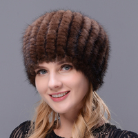 Shellfish Hat 2017 Hot Selling Women Winter Cap Ear Warm Mink Knitted Hat Fur Hat With Small Mink Fur Pompom On The Top Beret