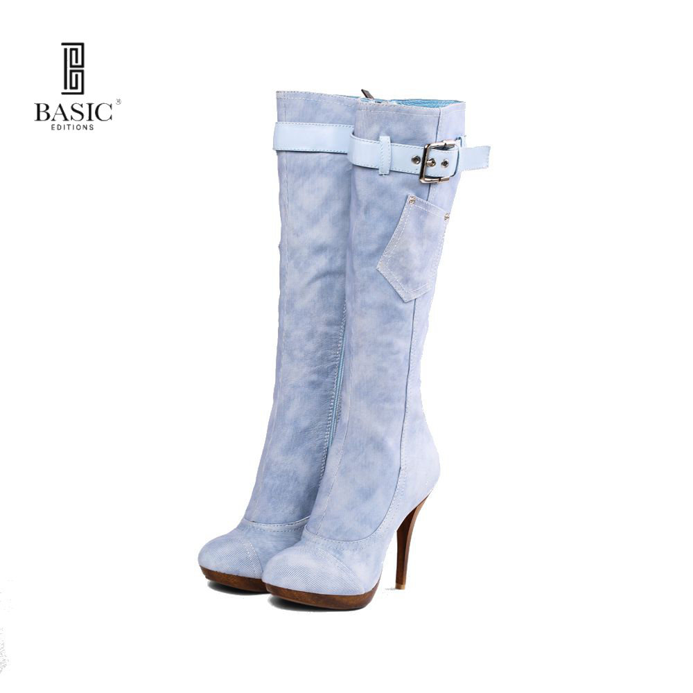 BASIC EDITIONS New Fashion Big Size Knee-High Quality Heel Zip Boots for Women Winter Women Shoes  6585-16-5 basic editions women dark grey suede leather spike high heel chain accessories winter long boots 1105 1422 aj91