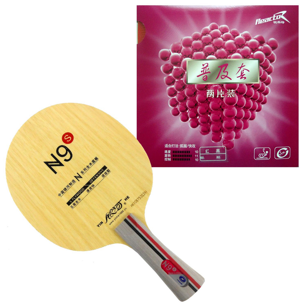 Galaxy YINHE N9s Table Tennis Blade With 2x Reactor Corbor Rubber With Sponge for a Ping Pong Racket Long shakehand FL