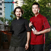 Free Shipping Cook Suit Short Sleeve Chef Uniform Checkedout Chef Jacket Cheapest Chef Shirt