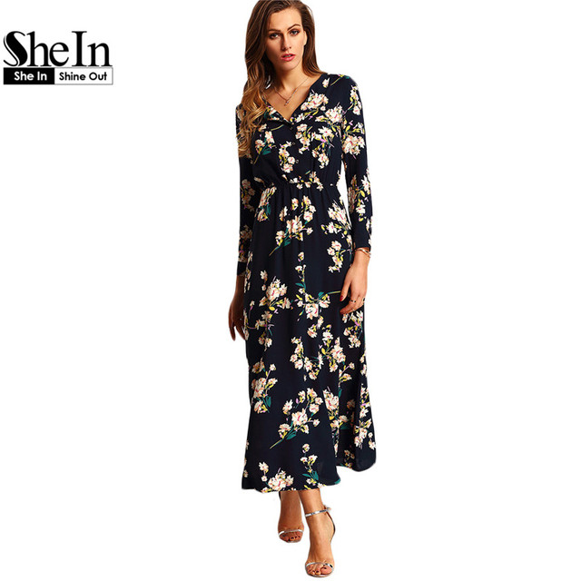 c6a6b30bd Shein nueva llegada boho vestidos maxis de las mujeres azul marino de  cuello redondo de manga