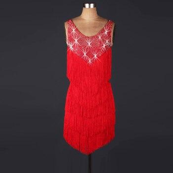 Fringe Tassel latin Rumba cha cha salsa ringe Charleston Flapper Great Gatsby Stage dress DL LQ009