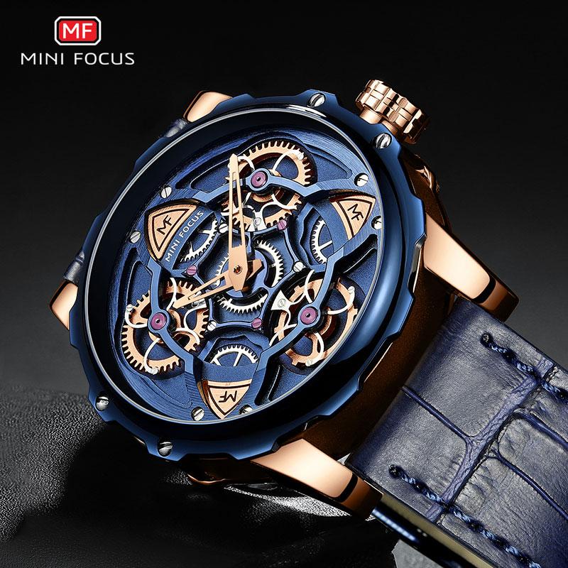 MINI FOCUS Blue Leather Quartz Watches Men Luxury Army Sports Wristwatch Man 3 Bar Waterproof Top