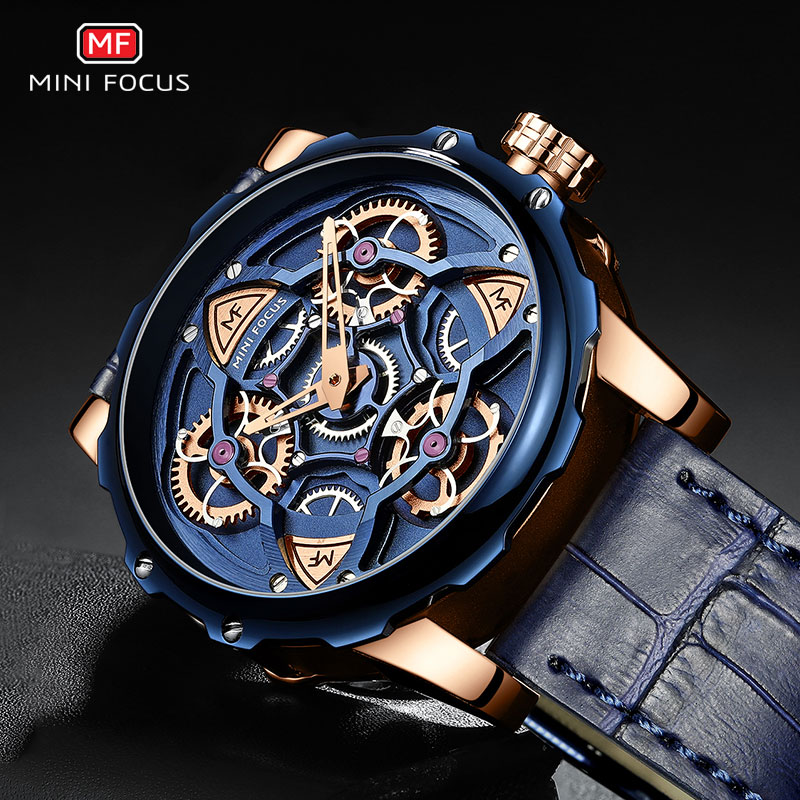 MINI FOCUS Blue Leather Quartz Watches Men Luxury Army Sports Wristwatch Man 3 Bar Waterproof Top Brand Relogios Masculino 0249G
