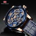 MINI FOKUS Blau Leder Quarz Uhren Männer Luxus Armee Sport Armbanduhr Mann 3 Bar Wasserdicht Top Marke Relogios Masculino 0249G