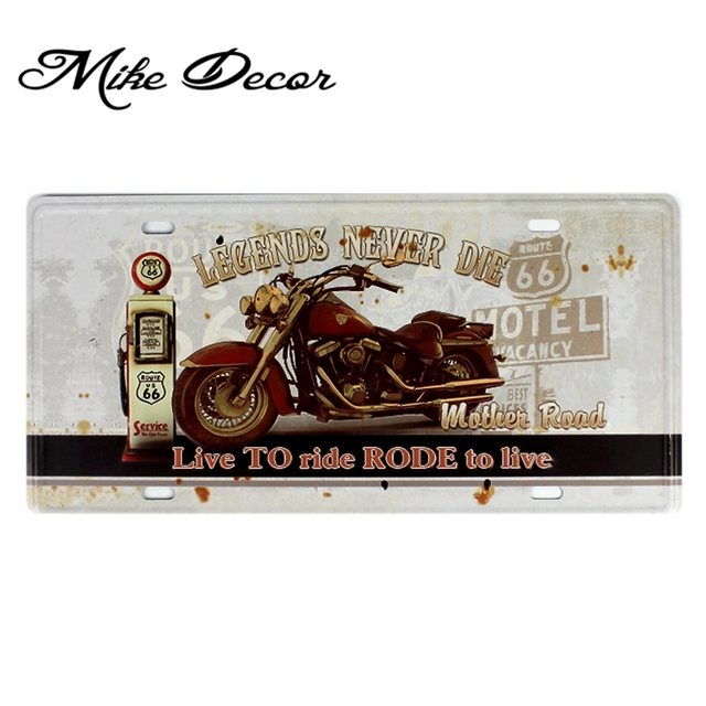 [ Mike86 ] Legend MOTOR Route 66 Wall Painting Decor Retro Gift Craft Tin Sign  Plaque