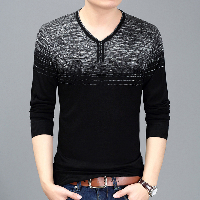 2018 New Spring & Autumn Fashion Clothing Pullover Mens Sweaters Trend V-Neck Slim Fit Knitting Thin Sweaters For Men
