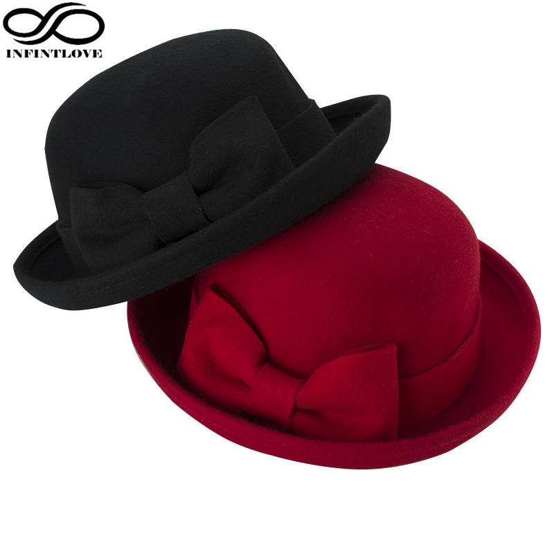 LUCKYLIANJI Spring Autumn Winter Warm Cute Girls BowKnot Woolen Caps Kids Vintage Trendy Chic Various Flanging Casual Bowler Hat