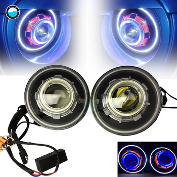 Angel's Eyes Headlamps 7 Inches LED Starry Headlights with Devil Demon Halo Angel Eye for Jeep Wrangler 07-16 CJ.
