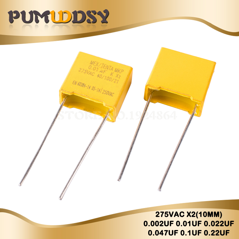 10pcs 275VAC Pitch 10mm X2Polypropylene Film Capacitor 0.001uF 0.01UF 0.022UF 0.047UF 0.1UF 0.22UF 102K 103K 104K 223K 224K 473K