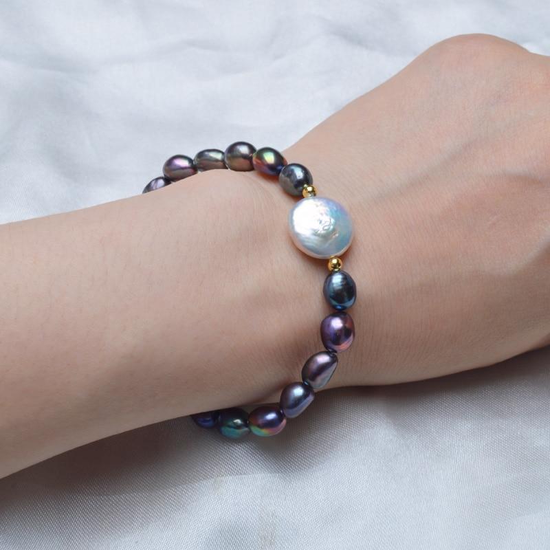ASHIQI genuino botón de 12-13mm pulseras de perlas de agua dulce - Joyas - foto 5