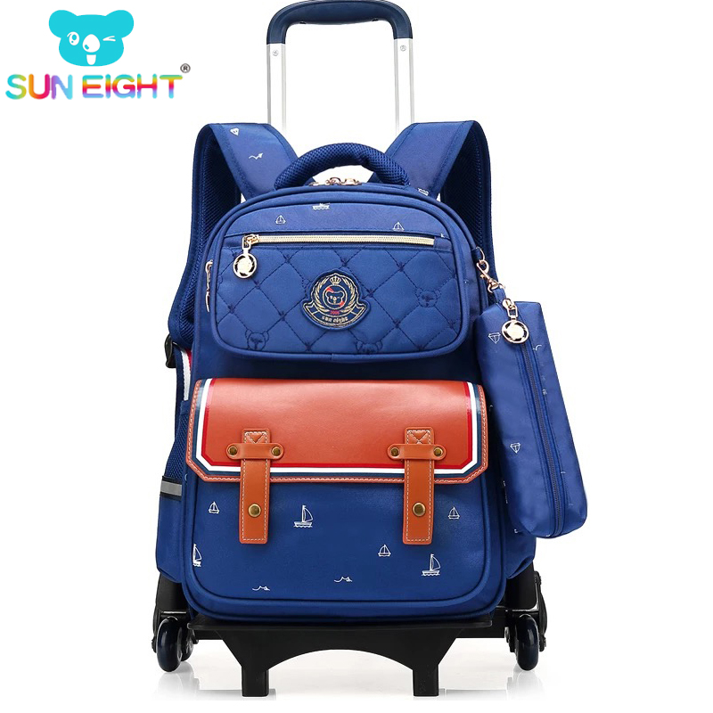 SUN EIGHT Wheeled School Bag Trolley Luggage Backpack for boys and girls Triple wheel Wheeled Bag