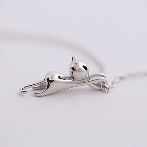 Hot Sell Smooth Surface Silver color Cats bijoux Pendants