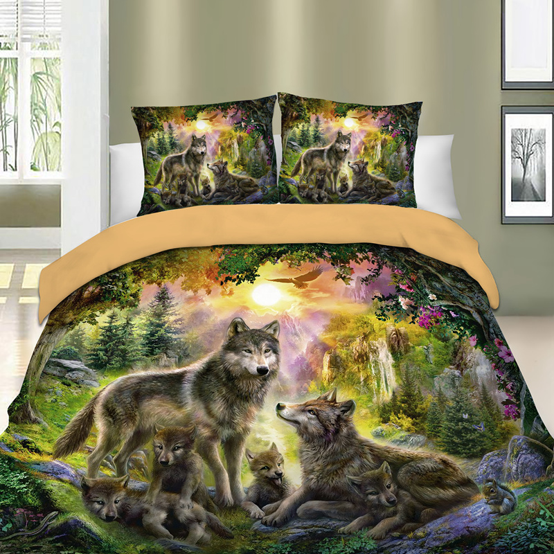 Bed-Linens-Set Wolf Happiness Full-Queen-King-Sizes Bed-Cover Printed Gray Family 3-Pcs