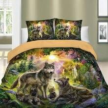 3d постельное белье волк пододеяльник набор с животным принтом