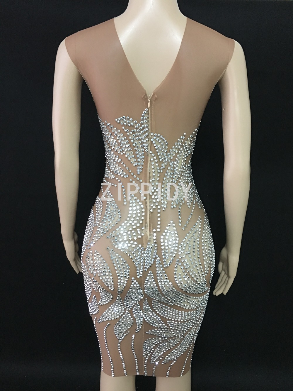 Sparkly Silver Stones Sleeveless Mesh Dress Women Diamonds Outfit Dress Nightclub Dancer Wear Women 39 s Birthday Party Sexy Dress in Dresses from Women 39 s Clothing