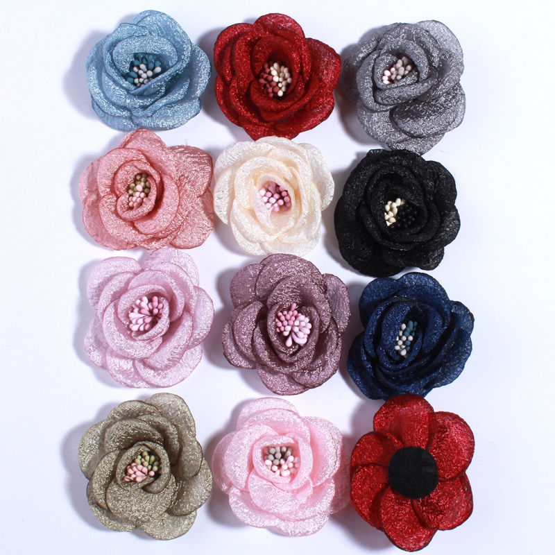 10PCS 5CM New Artificial Bling Burned Peony Flower For Hair Clips Sparkling Fabric Rose Flower With With Stamen U Pick Color