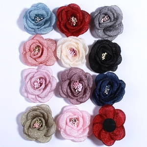10PCS 5CM New Artificial Bling Burned Peony Flower For Hair Clips Sparkling Fabric Rose Flower With With Stamen U Pick Color(China)