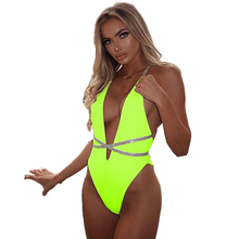 Women's Deep Plunge Neon One Piece Swimsuit Bathing Suit Ladies Bandage Swimwear Halter Plunge Deep V Neck Strappy Monokini low back plunge one piece swimsuit