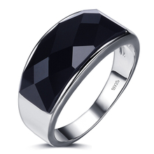 Men's Stylish Silver Ring with Large Black Crystal