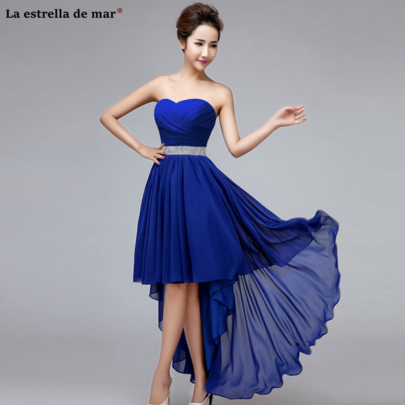 Wedding Guest Dresses For Women  Chiffon Sexy Sweetheart Backless Royal Blue Champagne Lavender High Low Bridesmaid Dress Long