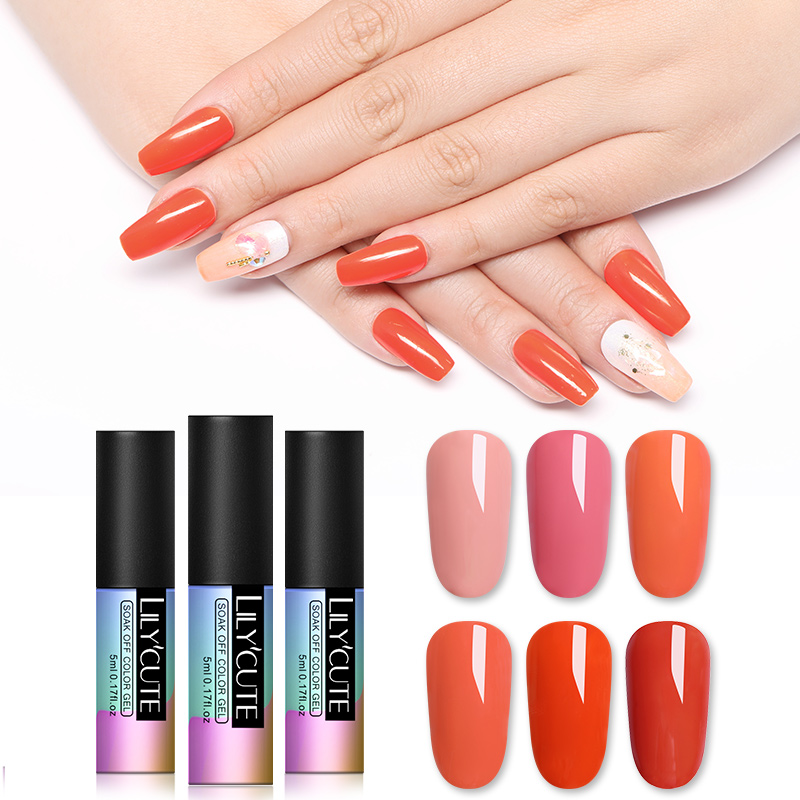 LILYCUTE Coral Red Orange Nail Art Gel 5ML Pure Color UV