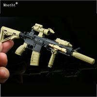 Mnotht 1/6 Guns Weapon Model Sand HK416 M4 firearms Assembled Toy Muffler Accessories Toy For 12 Inch Soldier Action Figure