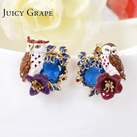 Hot Sale Violet Owl Series Blue European Crystal Asymmetry Gold-plated Earring For Woman 925 Silver Needles Jewelry