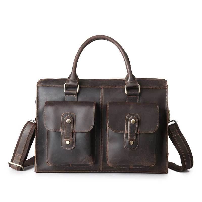 Vintage Men Shoulder Bags Cow Genuine Leather Brand Men's Handbags Anti Theft Laptop Business Briefcase Messenger Crossbody Bag men genuine leather bag messenger bag man crossbody large shoulder bag business tote briefcase brand handbags laptop briefcase