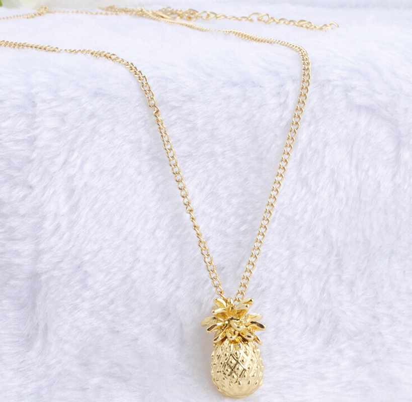Tiny Pineapple Fruit Cute Charm Long Chain Necklace Summer s