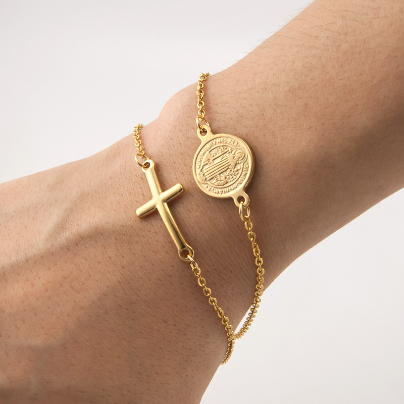 100% Stainless Steel Saint Benedict Medal Cross Charm Gold/Silver Religious Bracelet Catholic Medals Bracelet Pulsera Catolica