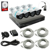 4CH Waterproof Outdoor Day Night Security CCTV Kit With 720P PoE IP Dome Camera PoE NVR