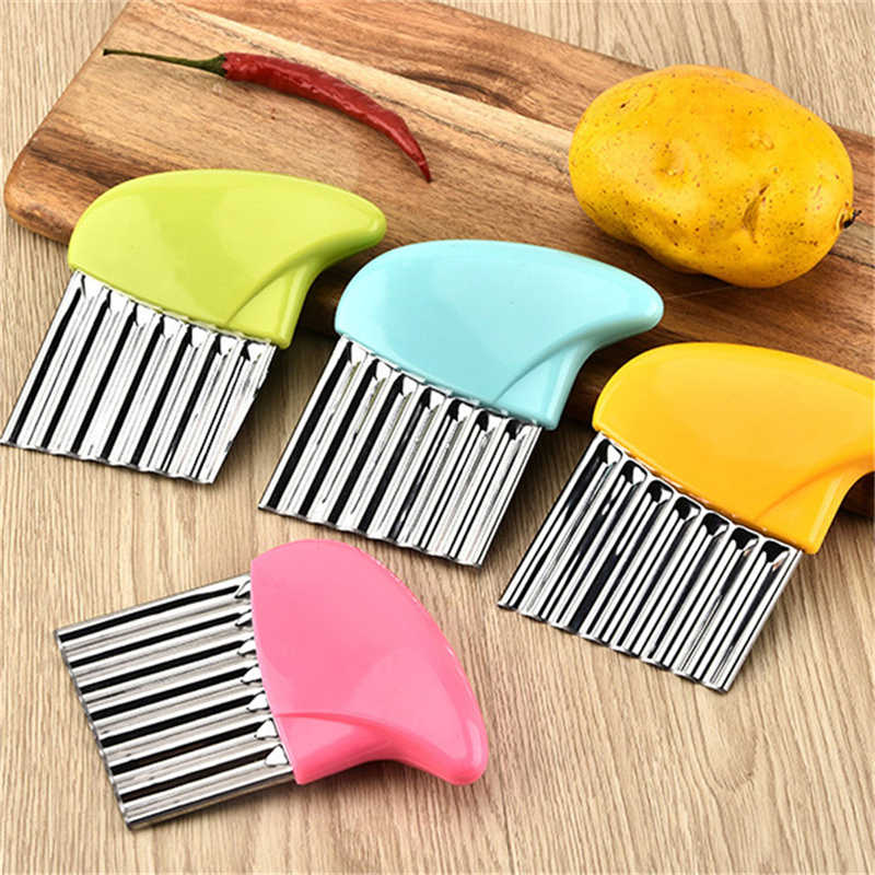 Cortador de verduras aparato para frutas y vegetales pelador de patatas fritas borde ondulado cúter de acero inoxidable 1 ud.