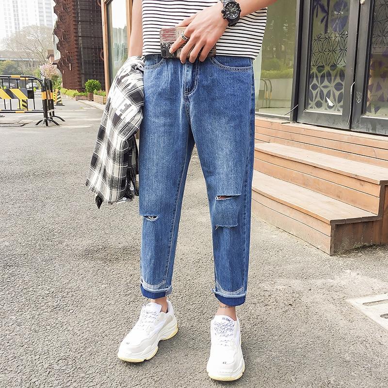 2018 Mens Fashion Trend Cowboy Holes Straight Wide Leg Patchwork Casual Blue Pants Loose Denim Jeans Homme Trousers Size M-2XL